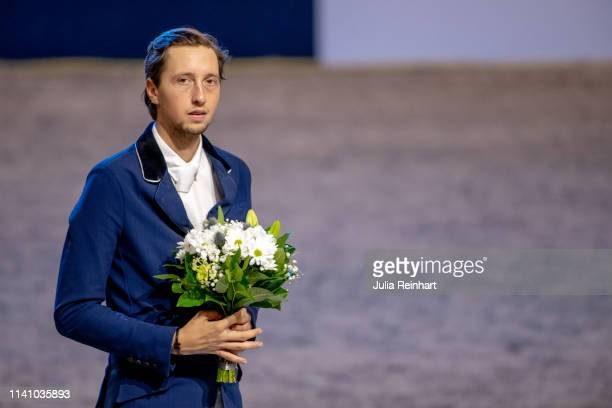 Swiss rider Martin Fuchs during the price giving ceremony for the 2019 Longines FEI Jumping World Cup Final during the Gothenburg Horse Show at...
