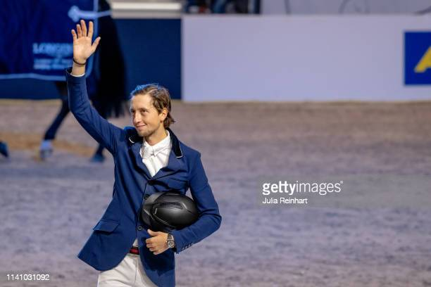 Swiss rider Martin Fuchs on Clooney 51 is places second in the Longines FEI Jumping World Cup Final during the Gothenburg Horse Show 2019 at...