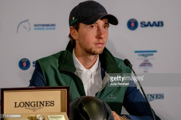 Swiss rider Martin Fuchs speaks to the press after placing second in the 2019 Longines FEI Jumping World Cup Final during the Gothenburg Horse Show...