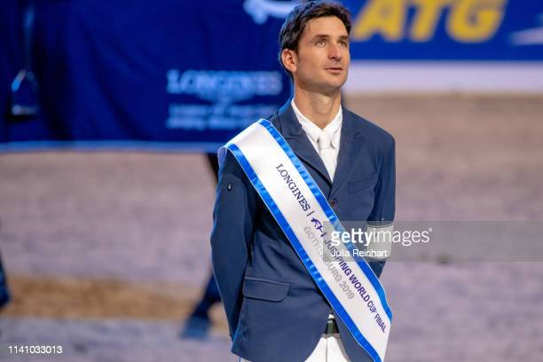 Swiss rider Steve Guerdat during the price giving ceremony for the 2019 Longines FEI Jumping World Cup Final during the Gothenburg Horse Show at...