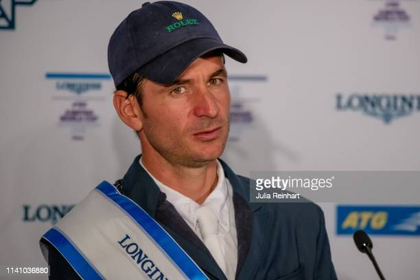 Swiss rider Steve Guerdat gets emotional as speaks to the press after winning the 2019 Longines FEI Jumping World Cup Final during the Gothenburg...
