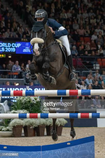 Swiss rider Steve Guerdat on Alamo wins the 2019 Longines FEI Jumping World Cup Final during the Gothenburg Horse Show at Scandinavium Arena on April...
