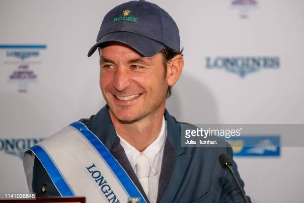 Swiss rider Steve Guerdat speaks to the press after winning the 2019 Longines FEI Jumping World Cup Final during the Gothenburg Horse Show at...