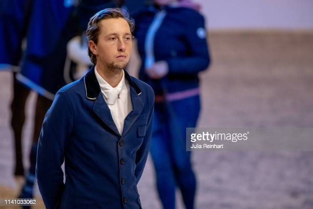 Swiss riders Martin Fuchs during the price giving ceremony for the 2019 Longines FEI Jumping World Cup Final during the Gothenburg Horse Show at...