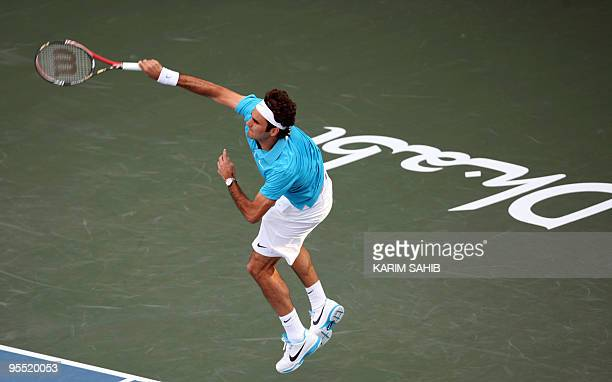 Swiss Roger Federer serves to Robin Soderling of Swededn during their semifinal tennis match of the 250000dollar Capitala World Tennis Championship...