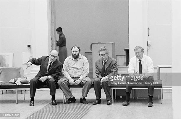 Swiss sculptor and painter Alberto Giacometti at the Tate Gallery London July 1965 Left to right Louis Clayeux David Sylvester Giacometti and Robin...