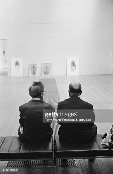 Swiss sculptor and painter Alberto Giacometti with his friend Louis Clayeux at the Tate Gallery London July 1965