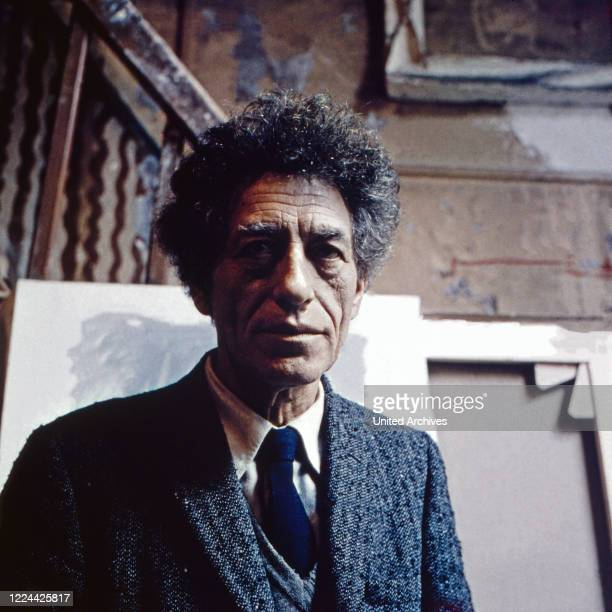 Swiss sculptor, painter and graphic artist Alberto Giacometti at his studio in Paris, France 1962.