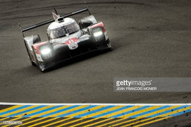 Swiss' Sebastien Buemi drives his Toyota TS050 Hybrid LMP1 WEC during the 88th edition of the Le Mans 24 Hours race on September 20, 2020 at the La...
