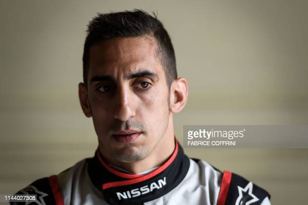 Swiss Sebastien Buemi looks on during a promotion event of the Swiss stage of the Formula E electric car championship on May 16 2019 in Bern The...