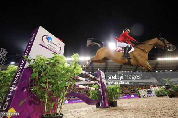 Swiss show jumper Steve Guerdat in action during the Team Show Jumping of the FEIEuropean Championships 2017 in Gothenburg, Sweden, 25 August 2017....
