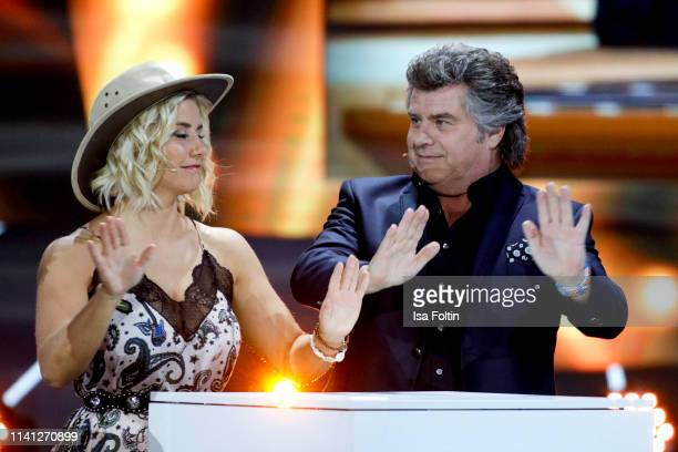 Swiss singer Beatrice Egli and Austrian singerAndy Borg during the television show 'Willkommen bei Carmen Nebel' at Velodrom on May 4 2019 in Berlin...