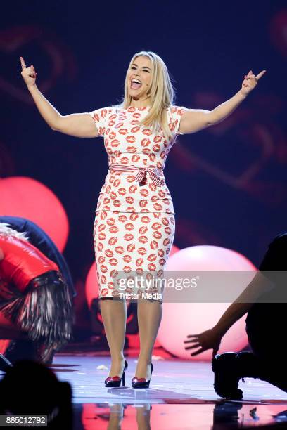 Swiss singer Beatrice Egli performs at 'Schlagerboom Das Internationale Schlagerfest' at Westfalenhalle on October 21 2017 in Dortmund Germany