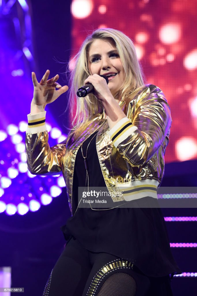 Swiss singer Beatrice Egli performs during 'Die Schlagernacht des Jahres' at Lanxess Arena on April 29, 2017 in Cologne, Germany.