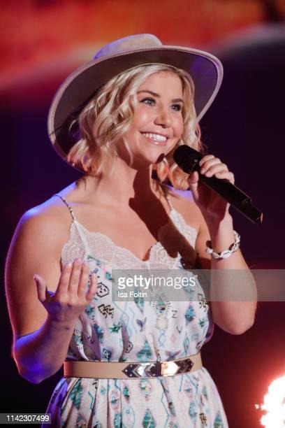 Swiss singer Beatrice Egli performs during the tv show Stefanie Hertel Die grosse Show zum Muttertag on May 8 2019 in Altenberg Germany