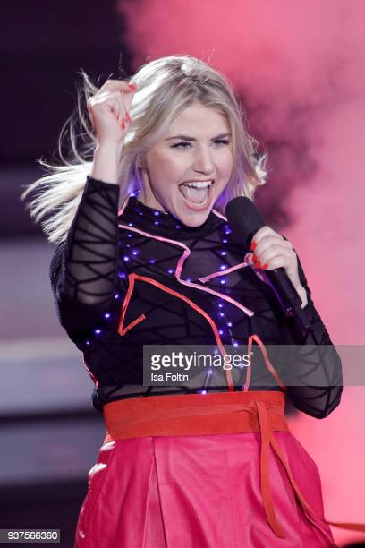 Swiss singer Beatrice Egli performs during the tv show 'Willkommen bei Carmen Nebel' on March 24 2018 in Hof Germany The show will be aired on March...