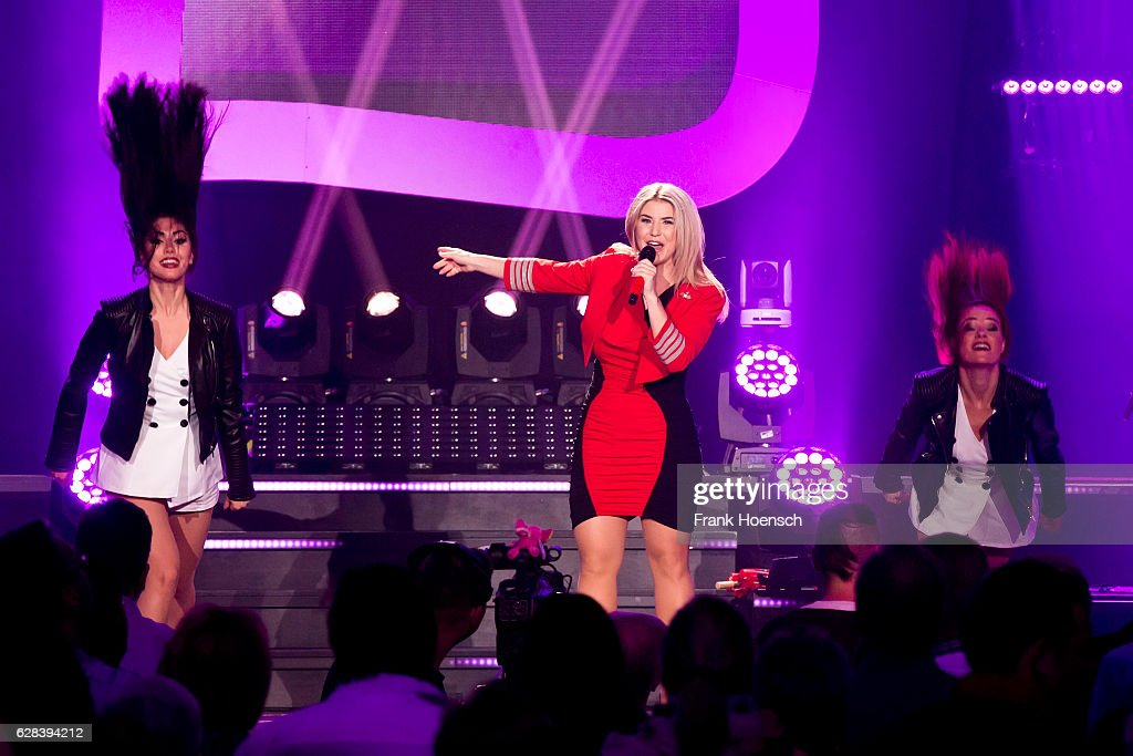 Swiss singer Beatrice Egli performs live during a concert at the Tempodrom on December 7, 2016 in Berlin, Germany.