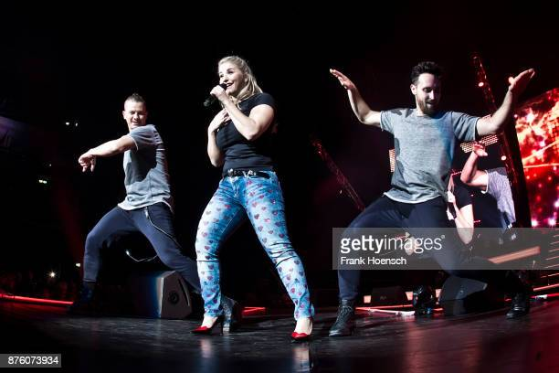Swiss singer Beatrice Egli performs live during the show 'Die Schlagernacht des Jahres' at the Mercedes-Benz Arena on November 18, 2017 in Berlin,...