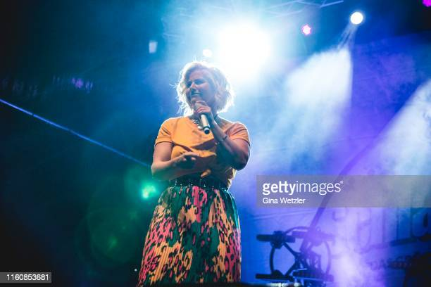 Swiss singer Beatrice Egli performs live on stage during the SchlagerOlymp Open Air festival at Freizeit und Erholungspark Luebars on August 10 2019...