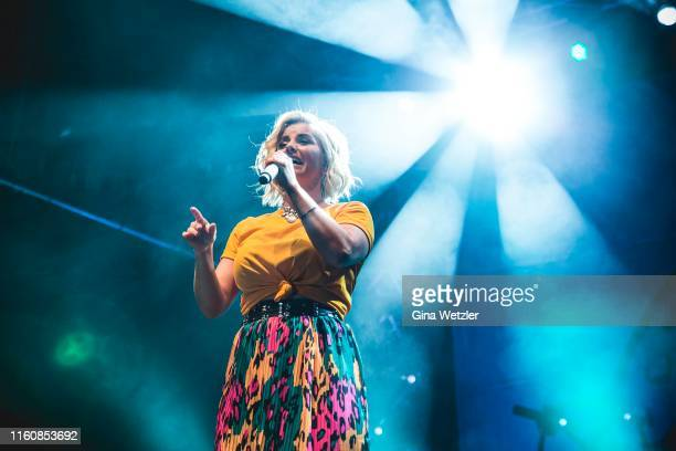Swiss singer Beatrice Egli performs live on stage during the SchlagerOlymp Open Air festival at Freizeit und Erholungspark Luebars on August 10, 2019...