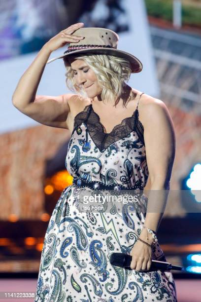 Swiss singer Beatrice Egli performs onstage during the television show 'Willkommen bei Carmen Nebel' at Velodrom on May 4, 2019 in Berlin, Germany.