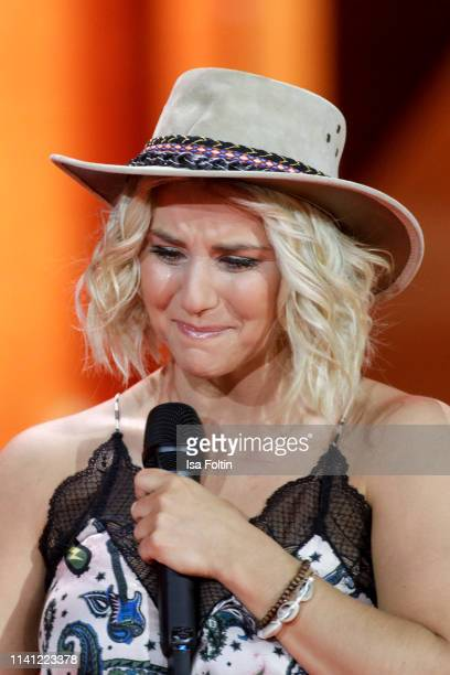Swiss singer Beatrice Egli speaks onstage during the television show 'Willkommen bei Carmen Nebel' at Velodrom on May 4 2019 in Berlin Germany