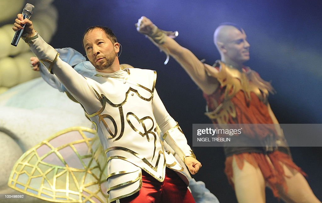 Swiss singer, dancer and music producer DJ BoBo (L) performs on stage during a concert on May 24, 2010 in Bremen, northern Germany. DJ BoBo actually tours Germany with his 'Fantasy Tour'.