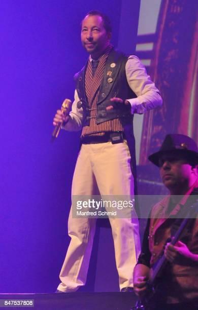 Swiss singer DJ Bobo performs in Vienna during a concert at Gasometerhalle on September 15 2017 in Vienna Austria