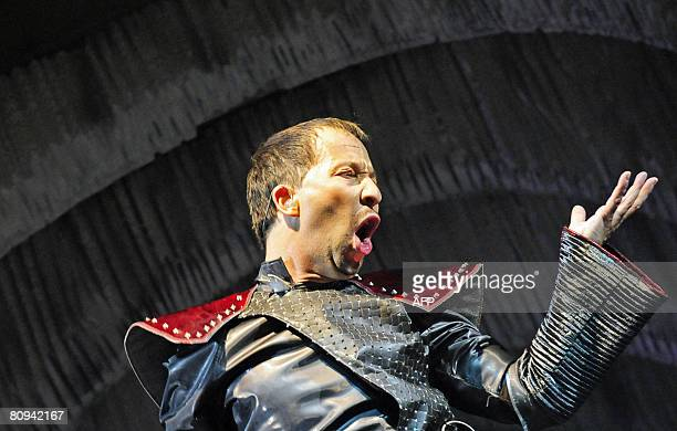 Swiss singer DJ Bobo performs on stage at the Arena in the northern German city of Oberhausen on April 30, 2008. The concert marked the start of his...