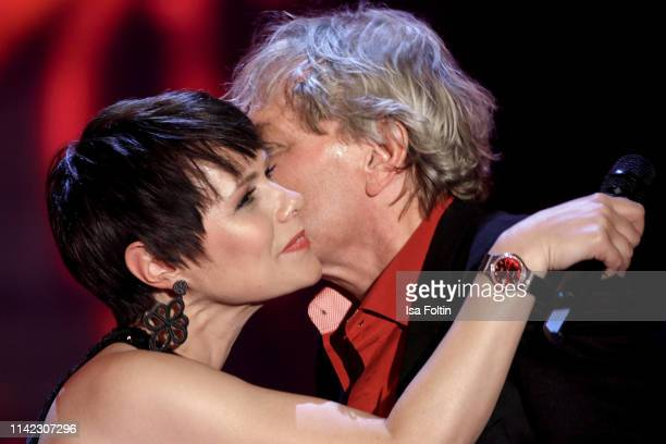 Swiss singer Francine Jordi and German singer Bernhard Brink during the tv show Stefanie Hertel Die grosse Show zum Muttertag on May 8 2019 in...