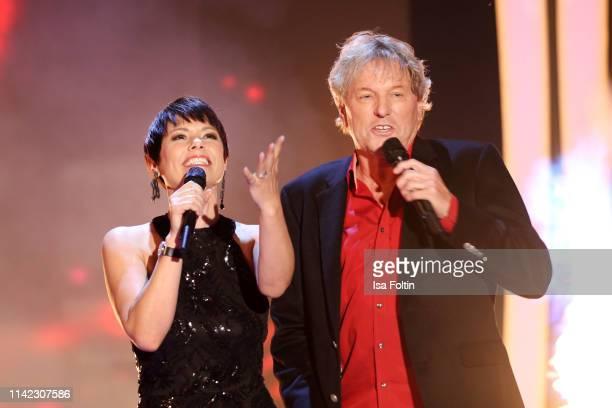 Swiss singer Francine Jordi and German singer Bernhard Brink perform during the tv show Stefanie Hertel Die grosse Show zum Muttertag on May 8 2019...