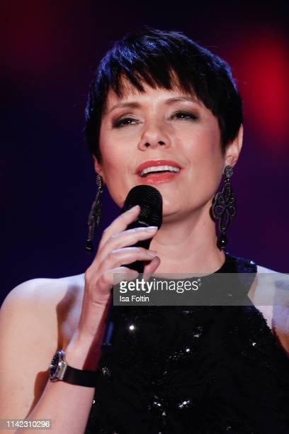 Swiss singer Francine Jordi performs during the tv show Stefanie Hertel Die grosse Show zum Muttertag on May 8 2019 in Altenberg Germany