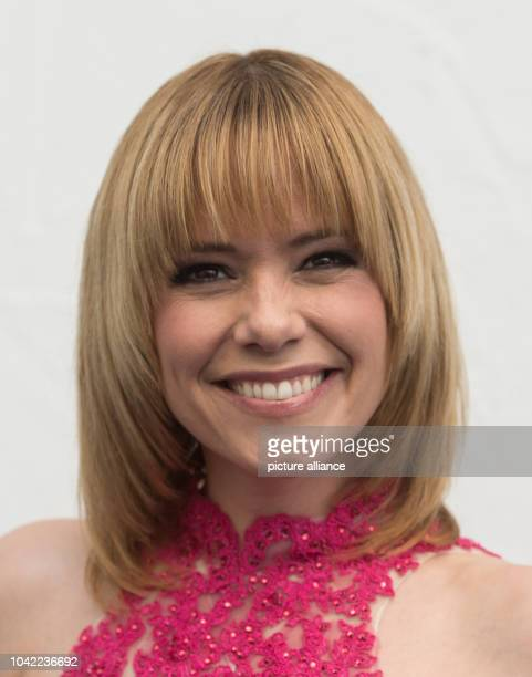 Swiss singer Francine Jordi poses at the live television show 'Immer wieder sonnntags' by German public broadcaster ARD at Europapark in Rust...