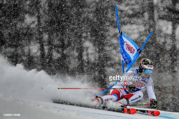 Swiss skier Loic Meillard competes during the FIS Alpine World Cup Men Giant Slalom on December 8 2018 in Val d'Isere French Alps