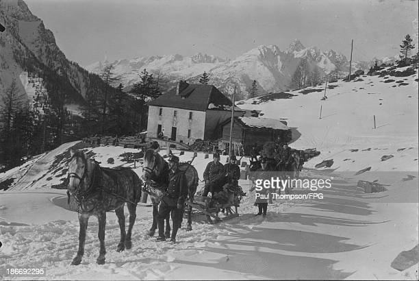 Swiss soldiers on sleighs in the Bernese Alps during World War One Switzerland circa 19141918