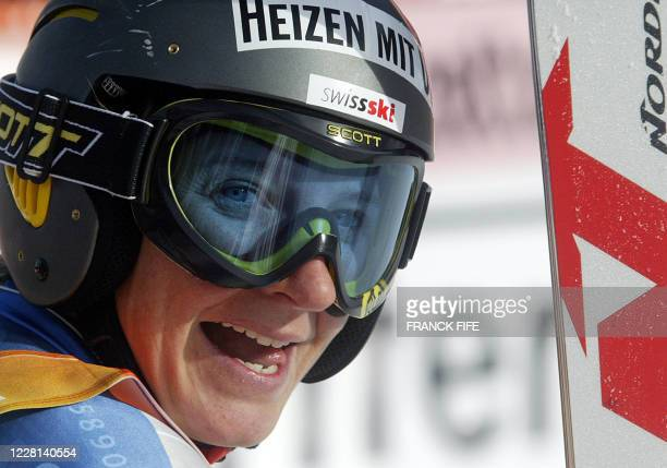 Swiss Sonia Nef smiles in the finish area of the World Cup Super-G race, 13 December 2003 in Alta Badia. Italian Denise Karbon won the race and Swiss...