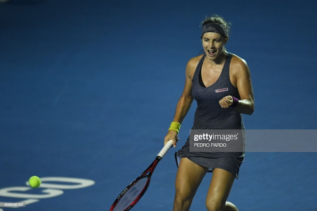 Swiss Stefanie Voegele celebrates after winning against Sweden´s ...