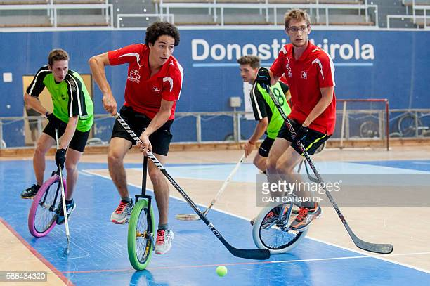 Swiss Team plays against German BTC Baukau Boogaloos during Unicycle hockey final game at the 18th International Unicycling Convention in the...