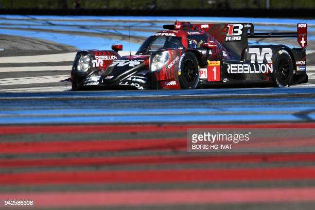 Swiss team RebellionRacing drivers Andre Lotterer Neel Jani Bruno Senna and Mathias Beche in the new Rebellion 13 car take part in the WECPrologue at...