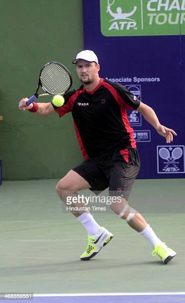 Swiss Tennis player Marco Chiudinelli playing a shot against Ukrainian player Illya Marchenko in the first round of the ATP Challenger Tour on...