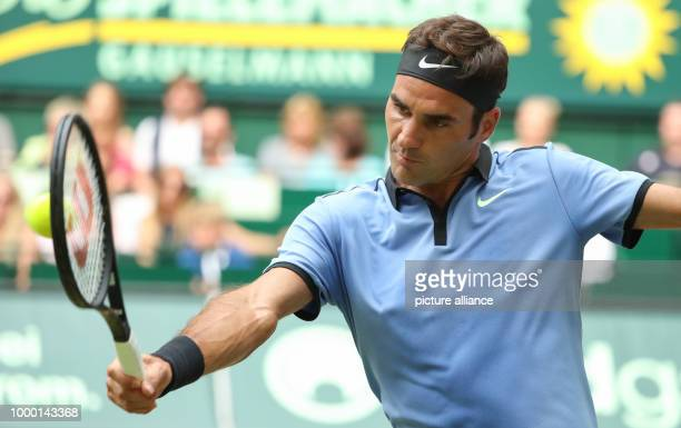 Swiss tennis player Roger Federer during the ATP tennis tournament men's singles quarter final match against Florian Mayer from Germany in Halle...