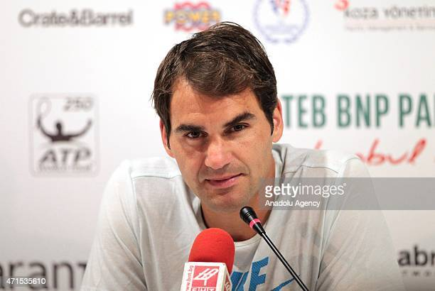 Swiss tennis player Roger Federer holds a press conference after he reached the quarterfinals of the inaugural Istanbul Open claycourt tournament...