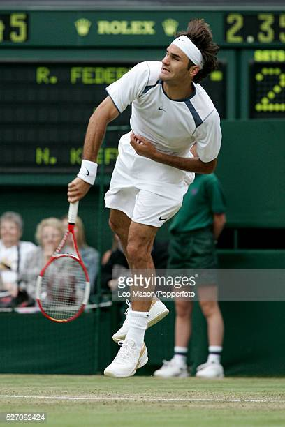 Swiss tennis player Roger Federer pictured in action against Nicolas Kiefer in the third round of the Men's Singles tournament at the Wimbledon Lawn...