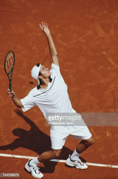 Swiss tennis player Roger Federer pictured in action to lose to Pat Rafter of Australia in the first round of the Men's Singles tennis tournament at...