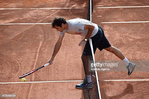 Swiss tennis player Roger Federer seen during a training session with Turkish tennis player Marsel Ilhan within the Internazionali BNL d'Italia 2015...