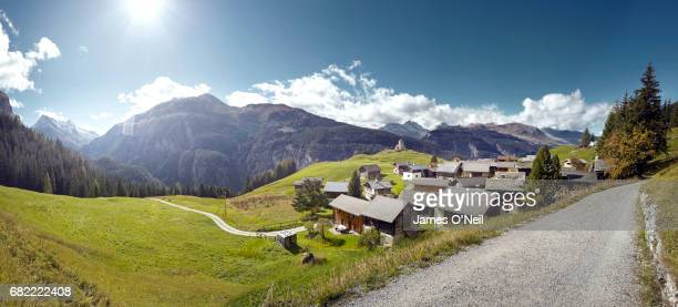 Swiss village in mountain landscape panoramic