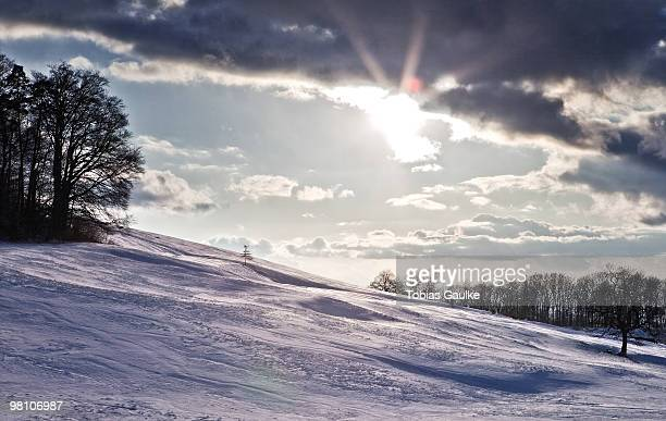 Swiss winter landscape with snow