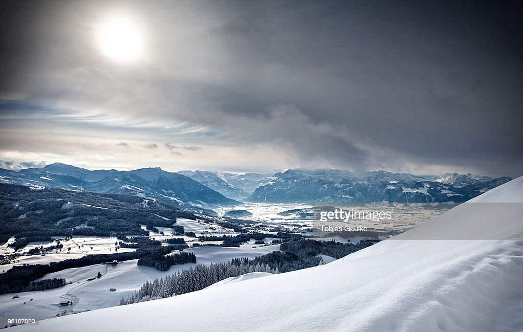 Swiss winter landscape with snow : Stock-Foto