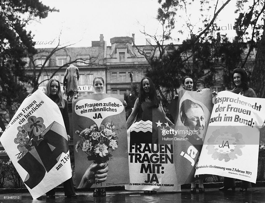 Posters For Female Suffrage in Switzerland : News Photo