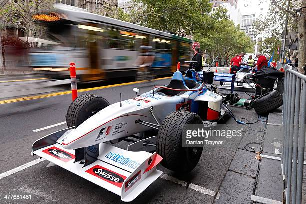 Swisse two seater grand prix car is set up at Melbourne Town Hall on March 11 2014 in Melbourne Australia